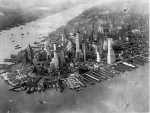 Photo : Vue aérienne de Manhattan pendant la seconde guerre mondiale - 1942